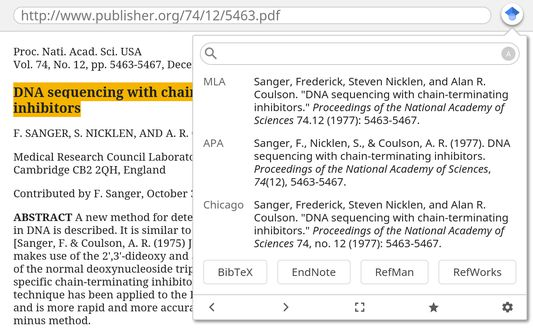 Format and download bibliographic citations.