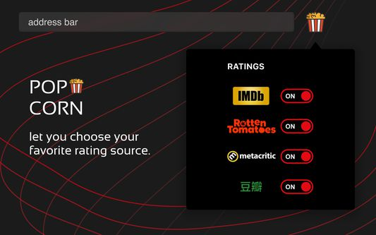 Popcorn let you choose your favorite rating source.
