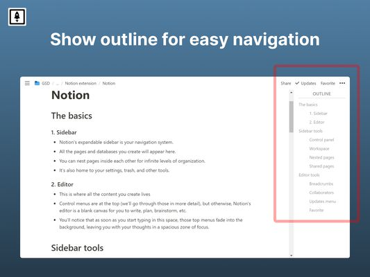 Add outline (table of contents) to Notion
