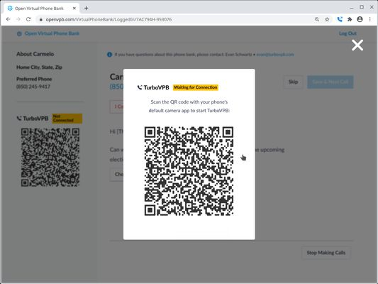 When you login to a Virtual Phone Bank, TurboVPB displays a QR code to scan with your phone.