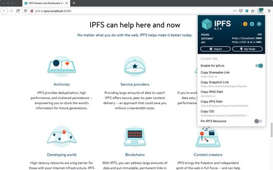 Check your node status and peer count from your browser bar, plus valuable IPFS shortcuts and info at a single click.
