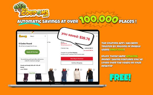 Automatic coupon savings at over 100,000 places - The Coupons App®