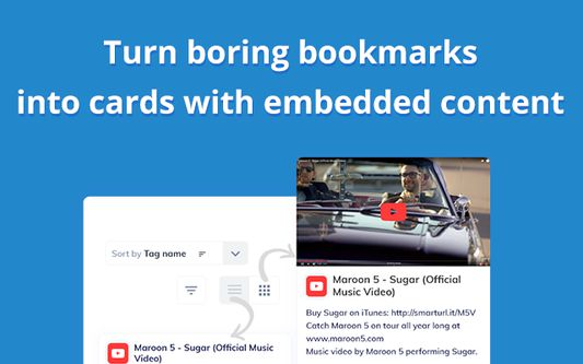 Turn boring bookmarks into cards with embedded video and audio content