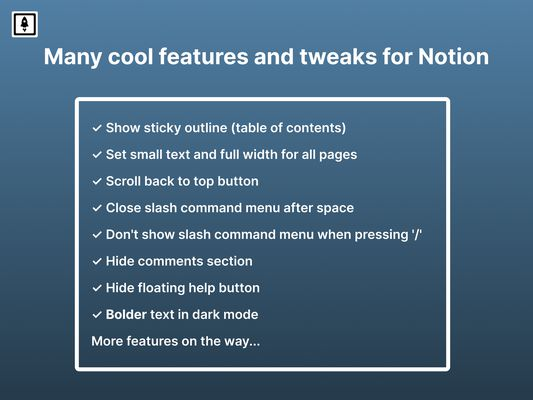 Many cool features and tweaks for Notion