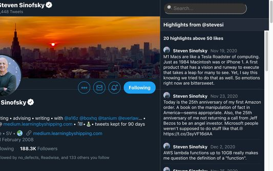 ⭐️ Highlights When viewing a user profile, see a sample of some of their most-liked tweets of all time. See someone's best ideas, not just whatever they happened to post today.