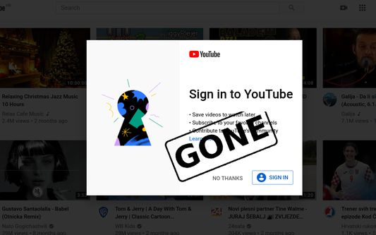 This extension hides automatic sign-in pop-ups on Youtube.