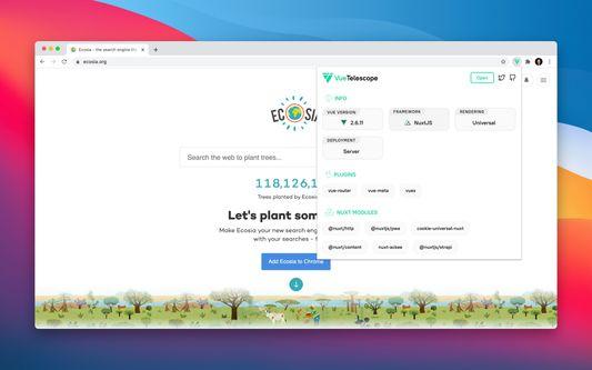 Vue Telescope extension on Ecosia website