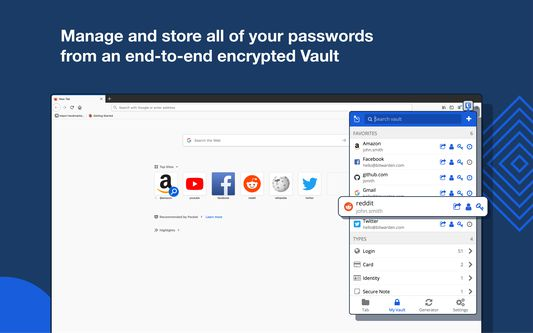 Manage and store your passwords from an end-to-end encrypted Vault