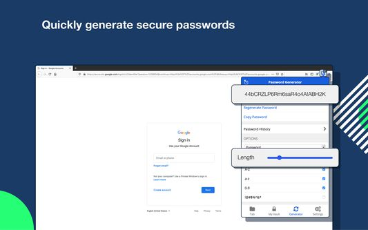 Quickly generate secure passwords