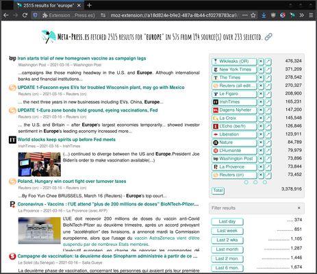 """Des millions de résultats pour une recherche sur """"Europe"""""""