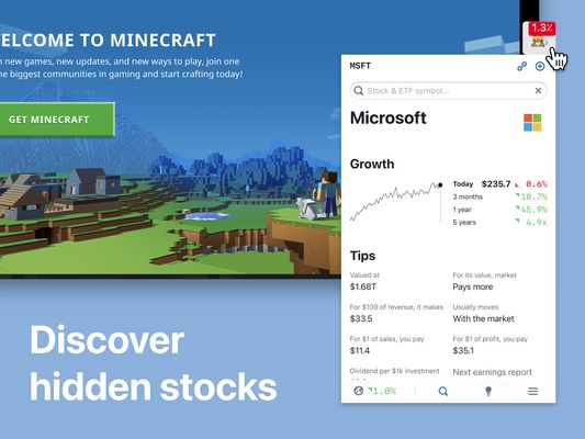 Stock Inspector - Discover hidden stocks, mutual funds and ETFs as you browse the web
