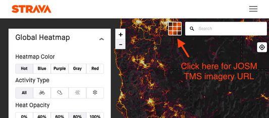 Screenshot of Strava Heatmap with button added