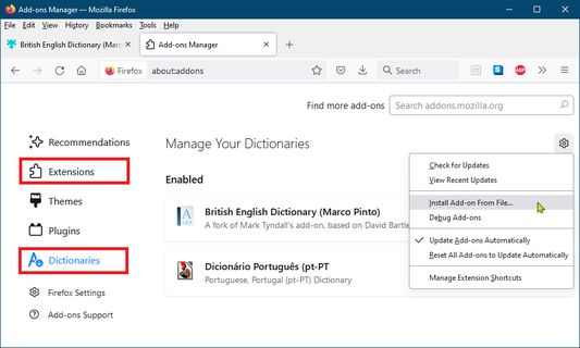 Installing the dictionary on Firefox (2021-09-27)