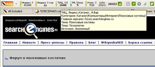 Информация о сайте по данным Я.Каталога и Я.Бара