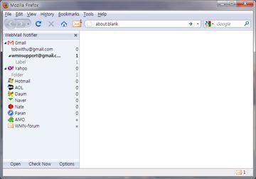 WebMail Notifier sidebar
