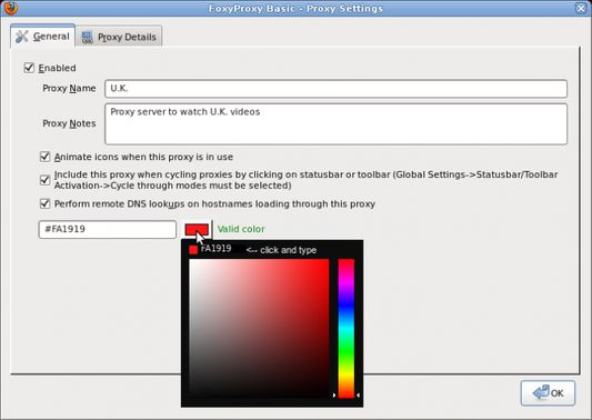 Proxy Settings - General Info