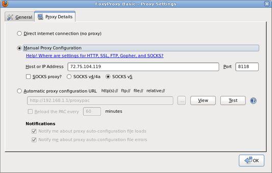 Proxy Settings - Details