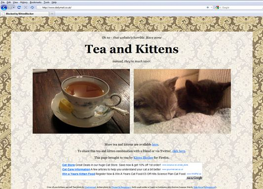 Any link to the Daily Mail or Express websites will be redirected to photos of tea and kittens.