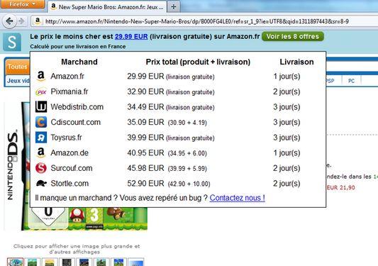 La comparaison de prix sur Amazon.fr