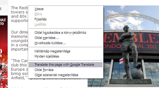 Translating the full page: right-click on the page, click 'Translate this page with Google Translate'