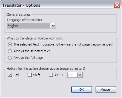 The Options dialog.