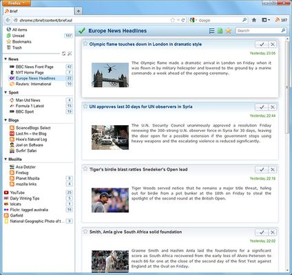 Brief displays on a seamless page. Unread items are highlighted and there are buttons on each item to mark it as read, bookmark it, or delete it.