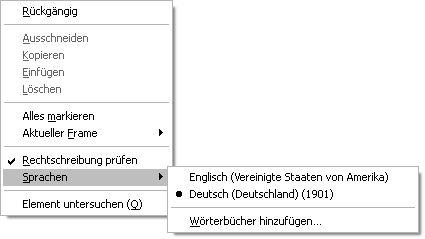 Auswahl der alten Schreibweise als Sprache für die Rechtschreibprüfung