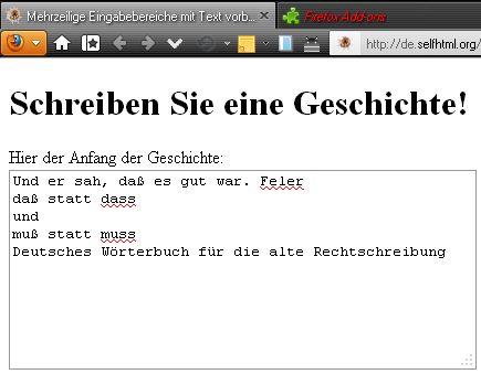 hier: Korrektur nach alter deutscher Rechtschreibung