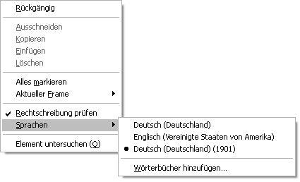 Auswahl der Sprache für die Rechtschreibprüfung